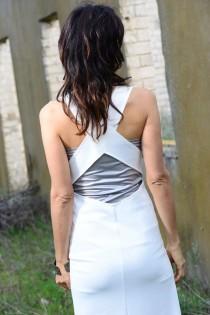 wedding photo - White wedding dress-Geometric white wedding gown dress-Maxi white dress-Made to order