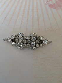 wedding photo - Duette Convertible Dress Clips Art Deco 1930s Rhinestone Brooch or Shoe and Dress Clips wedding Great Gatsby
