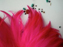 wedding photo - VOGUE COQUE HACKLE  , Shocking Fluorescent Hot Pink, Fuchsia / 649 / On Sale