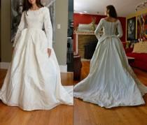 wedding photo - Vintage 60s Wedding Dress / 1960s White Bridal Gown Full Skirt Train XS