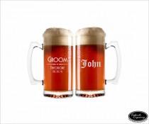 wedding photo - TWO Custom Beer Mugs, SHIPS FAST, Custom Engraved Beer Mugs, Personalized Beer Glasses, Groomsmen Gift Glasses, Will You Be My Groomsman