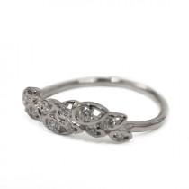wedding photo - Diamond Art Deco Petal Engagement Ring - 18K White Gold and Diamond engagement ring, leaf ring, flower ring, antique, vintage, halo ring
