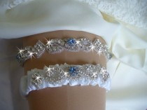 wedding photo - Something Blue Bridal Garter Etsy, Wedding Garter Belts, Birthstone Garter Set, Rhinestone Wedding Garter, Wedding Accessories, Garder