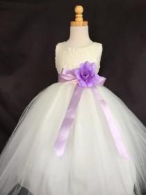 wedding photo - Ivory Wedding Bridal Bridesmaids Sequence Tulle Flower Girl dress Toddler 9 12 18 24 Months 2 4 6 8 10 12 14 Sash Color 24