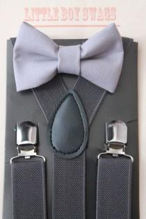 wedding photo - Grey Bow Tie with Charcoal Grey Suspenders..Kids Clothing..Ring Bearer Outfit..Groomsman..Baby Boy Bow Tie..Kids Suspenders..Boys Bow Tie