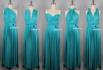 wedding photo - Weddings Wrap Infinity Convertible Dress Full Length Turquoise Evening Party Formal Bridesmaid Dress