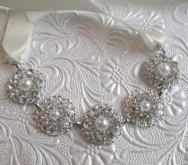 wedding photo - Pearl  headband, Ribbon hairband, Ivory Pearl, Crystal headpiece, Silver head band, Bridal hairpiece, silver crystal pearl Wedding Head Band