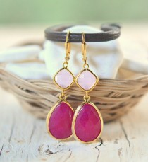 wedding photo - Jewel Dangle Earrings with Fuchsia Teardrop and Soft Pink Jewels. Long Dangle Earrings. Bridesmaid Earrings. Pink Wedding Jewelry.