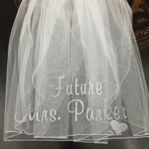 wedding photo - Custom Bachelorette Veil, Bachelorette Veil, Personalized Veil, Bride to Be Veil, Bachelorette Party