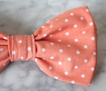 wedding photo - Pink Coral Polka Dot Bow tie - clip on, pre-tied with strap or self tying - ring bearer outfit or groomsmen attire