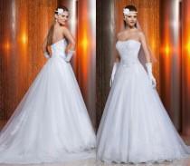 wedding photo - Best-selling Strapless Vestido De Noivas 2014 New Arrival Tulle Applique Beaded A-Line Wedding Dresses Via Sposa Detachable Bridal Gown, $124.61