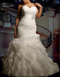wedding photo - 2015 New Custom Plus Size Sexy Sweetheart Strapless Beautifully Organza Mermaid Wedding Dress Bridal Gown Online with $110.27/Piece on Hjklp88's Store
