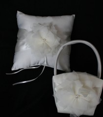 wedding photo - Ivory or White Flower Girl Baskets and  Pillow Ring Bearer Pillow-Custom Colors