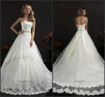 wedding photo - Vintage Amelia Sposa Wedding Dresses Sash A Line Train Appliques Lace Tulle Sleeveless Strapless Bridal Ball Gowns Dresses Chapel Train Online with $116.11/Piece on Hjklp88's Store