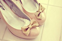 wedding photo - gold sparkle glitter bow shoes clips. anthropologie. In Stock and ready to ship.