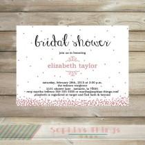 wedding photo - Pink Glitter Bridal Shower Invitation, Pink Sparkle, Confetti, Pink Glitter Baby Shower Invitation, Baby Sprinkle Invitation, Sweet Sixteen
