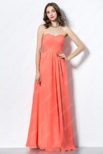 wedding photo - Orange Strapless Sweetheart Long Chiffon Bridesmaid Dress