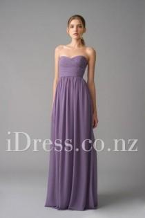 wedding photo - Flowy A-line Floor Length Chiffon Strapless Bridesmaid Dress
