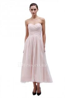 wedding photo - Strapless Blush Tea Length A-line Sweetheart Bridesmaid Dress