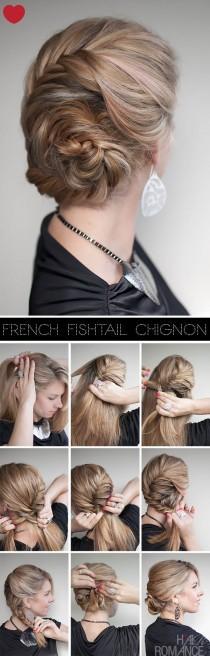 wedding photo - French Fishtail Braid Hairstyle Tutorial