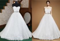 wedding photo - Actual Pictures Crystal Beaded Sash A-Line Wedding Dresses Lace Applique Tulle Bridal Gowns Sweetheart Strapless Wedding Dress Lace Up Online with $124.61/Piece on Hjklp88's Store