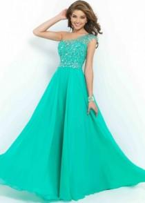 wedding photo -  Fashion Cheap Fitted Illusion One Shoulder Beaded Chiffon Green Evening Dress