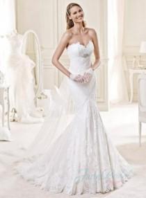 wedding photo -  JW15144 Sweetheart necked empire mermaid lace wedding dress