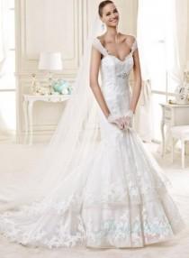 wedding photo -  JW15143 Beautiful tiered lace mermaid 2015 wedding dress