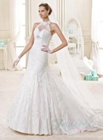 wedding photo -  JW15145 Sexy sheer back high neck lace mermaid wedding dress