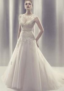 wedding photo -  chapel train tulle,lace high neck ball gown bow wedding dress - Cheap-dressuk.co.uk