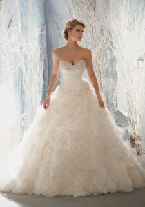 wedding photo -  natural waist flowers organza ruched ruffles wedding dress - Cheap-dressuk.co.uk