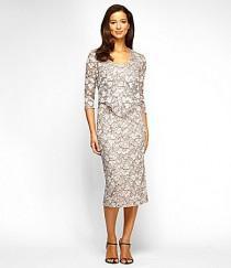 wedding photo - Alex Evenings Tea-Length Floral-Lace Jacket Dress