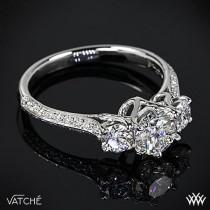 "wedding photo - Platinum Vatche 324 ""Swan"" 3 Stone Engagement Ring **Setting Only"