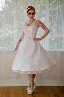 wedding photo - 1950s Rockabilly Wedding Dress 'Gayle' with Lace Overlay, Tea Length Skirt and Petticoat - Custom made to fit