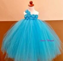 wedding photo - Blue flower girl dress/ Junior bridesmaids dress/Blue Flower Girl/ Flower girl pixie tutu dress/ Rhinestone tulle dress
