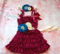 wedding photo - Raspberry Ivory Turquoise dress set, Flower girls dress,Ivory  Dress,girls dress, Birthday dress,fall dress,baby dress, Plum dress,baby girl