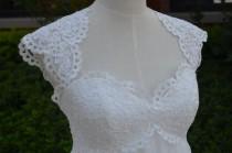 wedding photo - Ivory Lace Empire Waist Chiffon Wedding Dress Floor Length Keyhole Dress