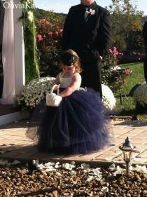 wedding photo - Navy Flower Girl Dress