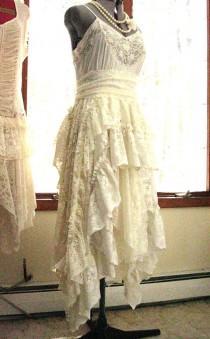 wedding photo - Ivory Off White alternative bride tattered boho gypsy hippie wedding dress, recycled / vintage laces