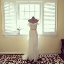 wedding photo - Bella-Off the shoulder soft white chiffon wedding dress- made to order - sweetheart A-line - beach wedding
