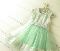 wedding photo - Girl Tulle Dress, Girl Mint Green Tulle Lace Dress, Lace Bodice Flower Girl Dress Wedding,Summer Girl Dress