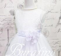 wedding photo - Flower Girl  Dress,, Communion Dress, WHITE  Sequin dress,  vintage girls dress, flower girl dresses(ets0155wt)