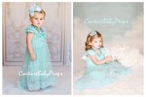 wedding photo - Vintage Aqua Mint Ruffle Lace Girls DRESS, Ruffle dress, flower girl dress, birthday dress, baby girl dress, lace dress, vintage dress, Elsa