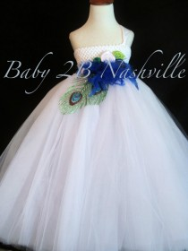 wedding photo - Peacock  Flower Girl Dress in White  Limited Edition  5-6T