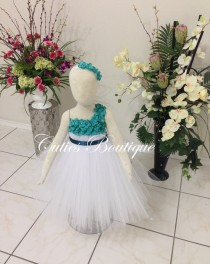 wedding photo - White Dress With Teal Hydrangea Flower Dress Wedding Dress Birthday Picture Prop Yellow Flower Girl Dress