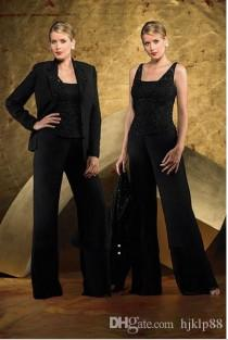 wedding photo -  Ebelz HOT Fashion Black Straps Sequins Lace Mother of the Bride Pant Suits Knee Wedding Mother Suits Newest Online with $124.51/Piece on Hjklp88's Store | DHgate.co