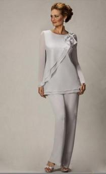 wedding photo -  2015 New Silver Sexy Two Piece Chiffon Mother of the Bride Pants Suits Plus Size Online with $94.46/Piece on Hjklp88's Store | DHgate.com