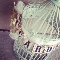 wedding photo - Mint Wedding Birdcage Card Box Card Holder Rustic Bird's Nest