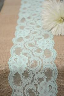 """wedding photo - Vintage Mint, Peppermint, Pastel Spring Wedding Burlap Lace Burlap Runner 12""""x108"""". Country, Shabby Chic, Vintage, Or Rustic Wedding"""
