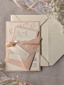wedding photo - Custom listing (20) Ivory Peach  Wedding Invitation, Vintage Lace Wedding Invitations, Rustic Wedding Invitation, Lace Belly Band ,